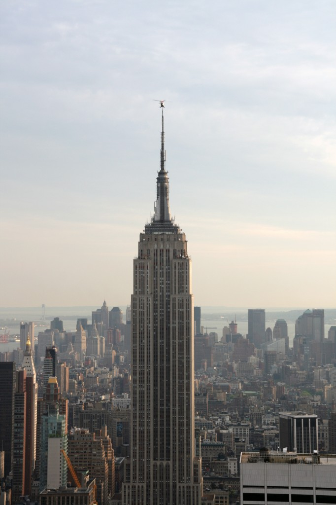 NYPD Helicopter on top of Empire State Building