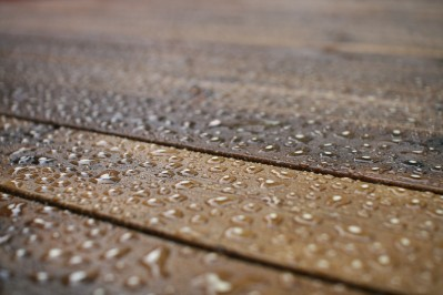 raindrops on protected wood